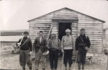 1938 Expedition, team photo, from left to right: Peter Pritchard, in charge of medical equipment; Brian Harland, geologist; Norman Pye, surveyor; Victor Balchin, geomorphologist; and MB 'Bill' Adams, surveyor. LH McCabe, the leader and geomorphologist was behind the camera.