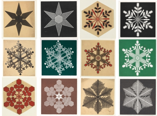 Selection of snow crystals showing hand-coloured drawings (left) and printed versions (right). Picture numbers from top left to right: Glaisher (C) 3/7/3 & 6/9/5; 3/7/10 & 6/9/19; 3/7/63 & 6/9/91; 3/7/16 & 6/9/35; 3/7/29 & 6/9/58; 3/7/71 & 6/9/70. Images ©Fitzwilliam Museum, University of Cambridge