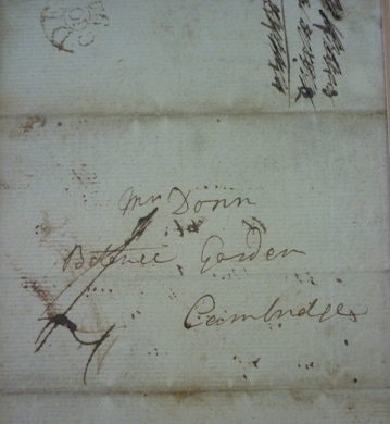 Envelope containing a letter from Sir Joseph Banks to Garden Curator James Donn, dated 1794