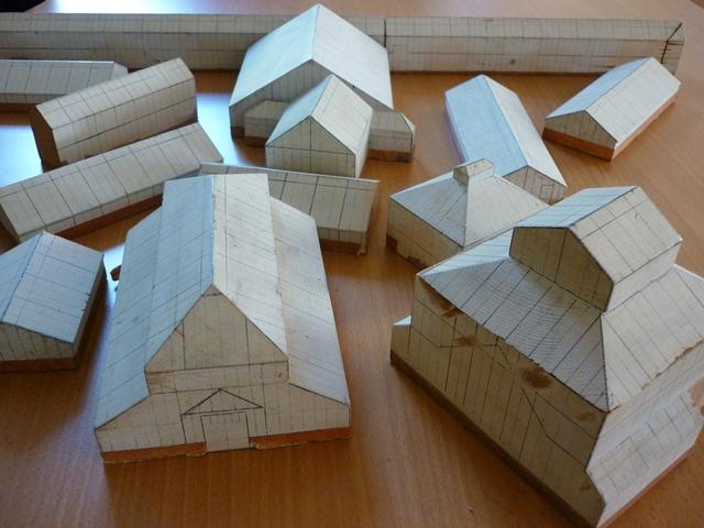 A wooden model of the Garden's glasshouse range