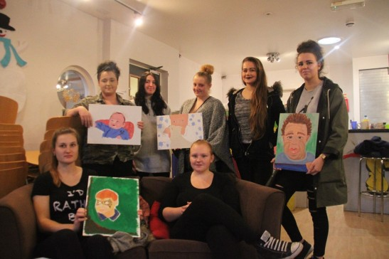 The Romsey Mill Young Mums with their baby portrait paintings having just passed their Bronze Arts Award moderation. Left to Right Estelle, Jay, Maggie, Jo, Lizzie, Olivia and Lucy