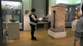 Jay drawing and researching in the Fitzwilliam Museum Egyptian galleries