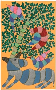 Animals at the tree of life, by Dhaneshwari. Gond. Madhya Pradesh, 2015. Museum of Archaeology & Anthropology 2016.213. Purchased with support from Art Fund