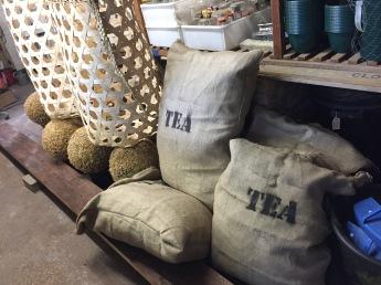 Tea baskets, tea sacks made up & ready for the tea plantation display