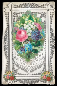Mullord Bros., lace-paper and chromolithography, c. 1870, Bequeathed by J.W.L. Glaisher, 1928, P.14343-R-26 This valentine by Mullord Bros. features silvered lace-paper and a central chromolithographed flower bouquet with smaller scraps of flowers and cupids positioned at the corners.