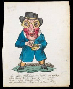 This comic valentine of 'Mr Slyboots' was published around 1822 for the lower-middle-class valentine market.  Unknown, woodcut with hand-colouring on paper, c. 1822, Bequeathed by J.W.L. Glaisher, 1928, P.14345-R-1.