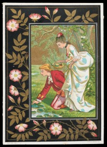 Marcus Ward & Co. (Kate Greenaway), 'Love's Offering', chromolithography on paper, c.1880, Bequeathed by J.W.L. Glaisher, 1928, P.14349-R-34