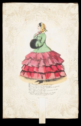 When the tab of this valentine by Joseph Mansell is pushed upwards, the flounced skirt rises to reveal the hoops and petticoats of its wearer. Joseph Mansell, lace-paper, lithography and hand-colouring with moveable part, c. 1850, Bequeathed by J.W.L. Glaisher, 1928, P.14579-R
